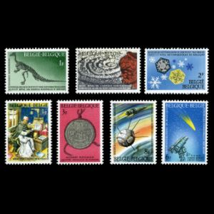 Iguanodon dinosaur on stamps of National Science Heritage of Belgium 1966