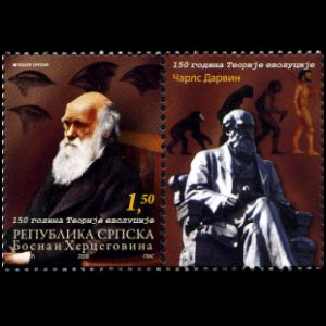 150 years of the Theory of Evolution on stamp of Bosnia and Herzogovina from 2008