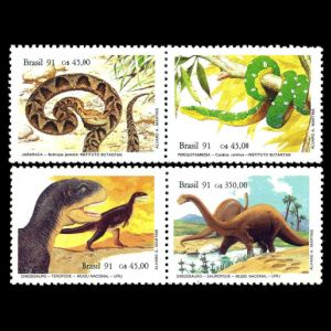 dinosaurs and snakes on stamps of Brazil 1991