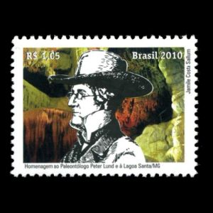paleontologist Peter Lund and Lagoa Santa on stamp of Brazil 2010