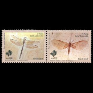 Fossil of dragonfly and moth on stamps of Brazil 2016