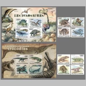 Prehistoric animals on stamps of Burundi 2011