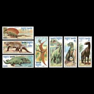 dinosaurs and prehistoric animals on stamps of Cambodia 1986