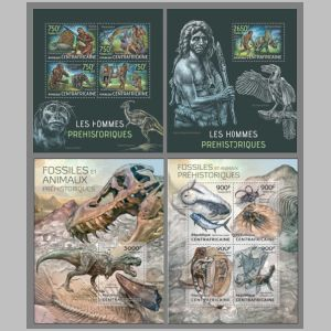 dinosaurs on stamps of Central African Republic 2013