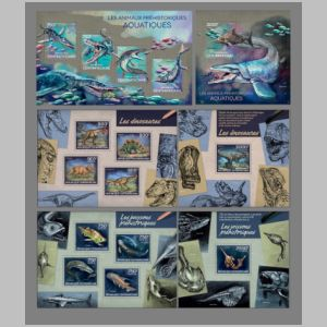 Prehistoric animals on stamps of CAR 1988