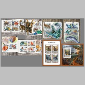 Prehistoric animals on stamps of CAR 2016