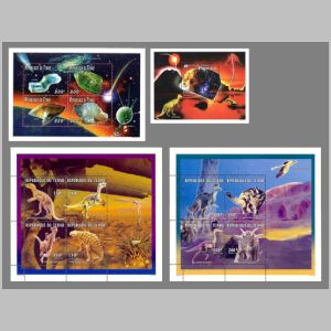 Dinosaurs and Minerals on stamps of Chad 1996