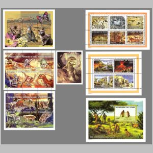 Dinosaurs and other prehistoric animals and humans as well as their fossil on stamps of Chad 1998