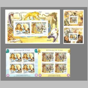Prehistoric animals on stamps of Chad 2012