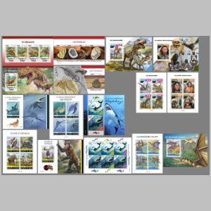 Fossils and reconstructions of dinosaurs and other prehistoric animals on stamps of Chad 2020