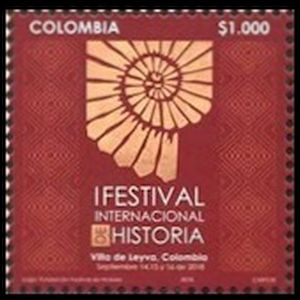 Ammonite on stamps of Colombia 2018