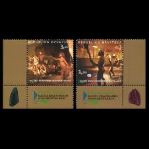 Homo neanderthalensis krapinensis from Krapina man on stamps of Croatia 2012
