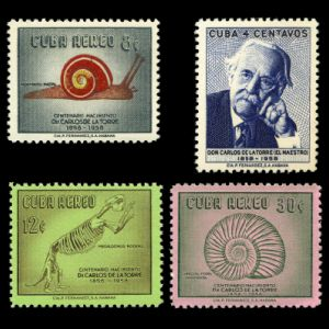 Naturalist and Paleontologist Carlos de la Torre, Megalocnus rodens skeleton and ammonite fossil on stamps of Cuba 1958