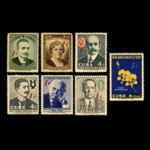 Carlos de la Torre among other personalities on surcharged stamps of Cuba 1960