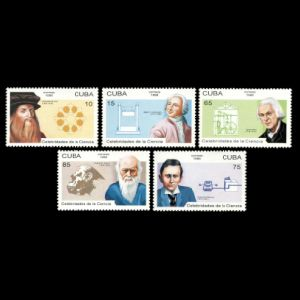 Charles Darwin among other scientists on stamps of Cuba 1996