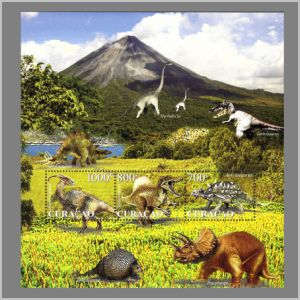dinosaurs on stamps of Curacao 2011