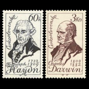 Charles Darwin and Joseph Haydn on stamps of Czechoslovakia 1959