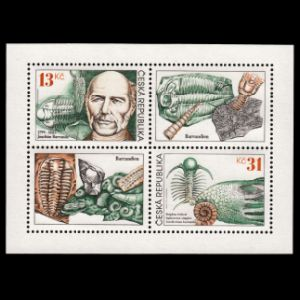 Paleontologist Joachim Barrande and Czech Trilobites on stamps of Czech Republic 1999