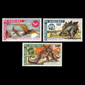 Dinosaurs on stamps of Dahomey 1974
