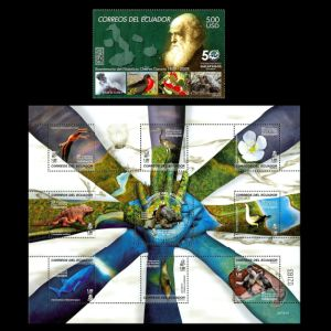Charles Darwin on stamps of Ecuador 2009