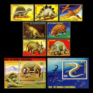 Prehistoric animals on stamps of Equatorial Guinea 1978