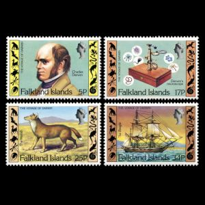 Charles Darwin on stamps of Falkland island 1982