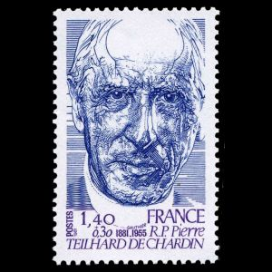 paleontologist Pierre Teilhard de Chardin on stamp of France 1981