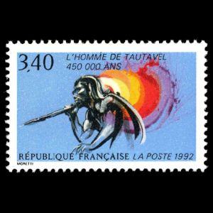 prehistoric man Tautavel on stamps of France 1992