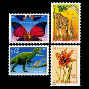 fossil and reconstruction of Allosaurus dinosaur and modern animals on stamps of France 2000