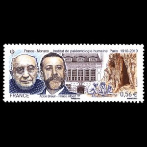 Institut de paleontologie humaine, human paleontology and prehistory, Albert I, Abbe Breuil on stamp of France 2010