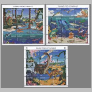 prehistoric animals, dinosaura on stamps of Gabon 1995