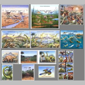 prehistoric animals, dinosaurs on stamps of Gabon 2000