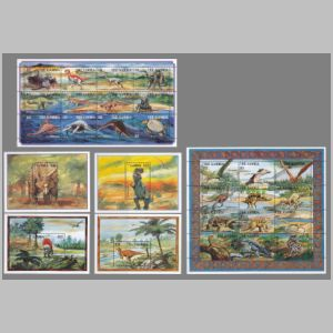 prehistoric animals, dinosaurs on stamps of Gambia 1995