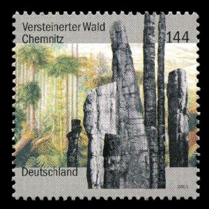Petrified forest of Chemnitz on stamp of Germany 2003