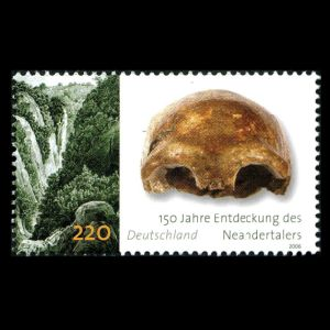 Fossil of Neandertal on stamp of Germany 2006