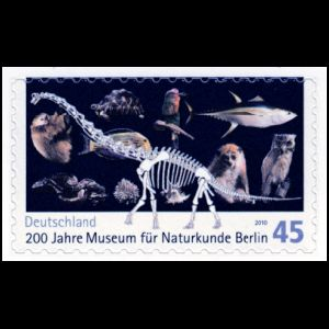 Bicentenary of Museum for Natural Science in Berlin on self adhesive stamp of Germany 2010