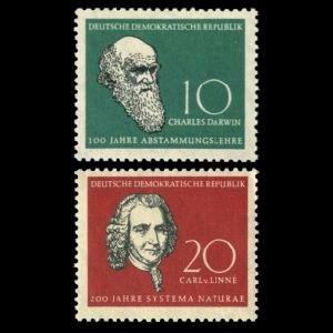 Charles Darwin and Carl Linnei on stamps of Germany (GDR) 1958
