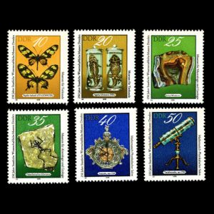 Dresden Science Museum , fossil of Palaeobatrachus diluvianus on stamps of Germany  GDR 1978