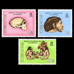 Neanderthal and other Human Fossils on stamps of Gibraltar 1973