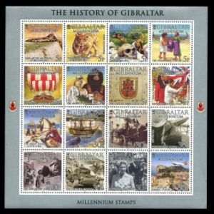 Megantereon, Sabertooth cat and The Neanderthals on history stamps of Gibraltar 2000