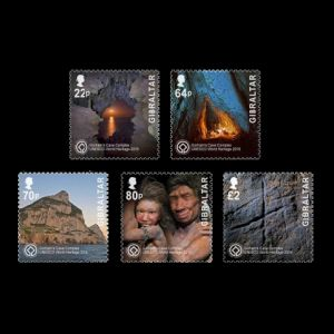 Gorham's Cave and Neanderthals on stamps of Gibraltar 2016