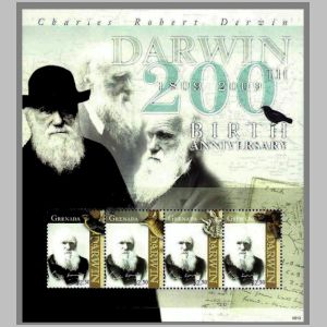 Charles Darwin on stamps of Grenada 2009