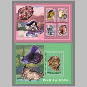 minerals and fossil on stamps of , Carriacou & Petite Martinique 2014