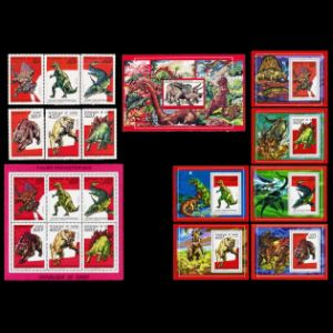 Dinosaurs and other prehistoric animals on stamps of Guinea 1987