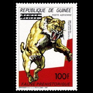 Smilodon on stamps of Guinea 1991