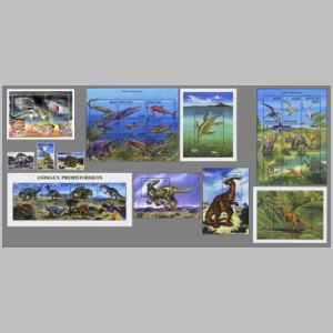 Dinosaurs and other prehistoric animals on stamps of Guinea 1999