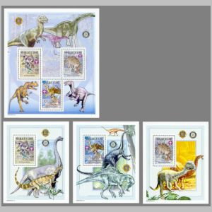 Dinosaurs on stamps of Guinea 2002