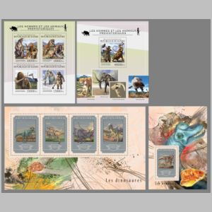 prehistoric humand and animals on stamps of Guinea