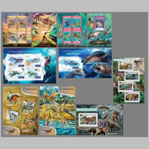 Dinosaurs and other prehistoric animals on stamps of Guinea 2015