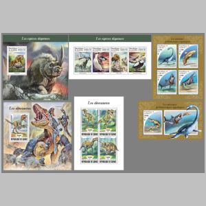 Dinosaurs and other prehistoric animals on stamps of Guinea 2018